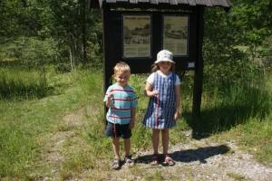 Emma och Anton trär smultron på strå. Emma och Anton put wild strawberries on straw. Emma ja Anton pujottavat metsämansikat heinänkorsiin.