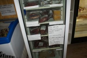Korvar till salu. Sausages for sale. Makkaroita myytävänä.