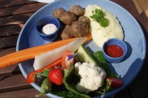 Barnportion av köttbullar och potatismos. Children´s portion of meat balls and mashed potatoes. Lasten annos lihapullia ja perunamuusia.