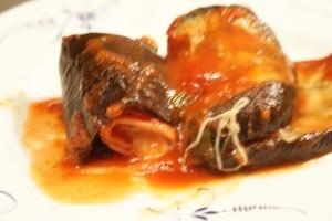 Aubergine med skinka och ost, eggplant with ham and cheese, munakoisoa juusto. ja kinkkutäytteellä