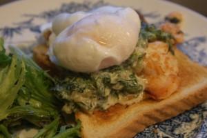 Toast med lax, nässlor och pocherat ägg, toast with salmon, nettles and poached egg, paahtoleipä, lohta, nokkosia ja uppomuna