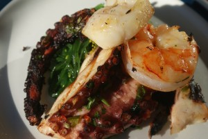 Grillade skaldjur, grilled seafood, grillattuja mereneläviä
